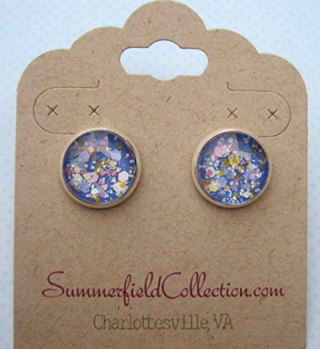 Silver-Tone Blue Pastel Periwinkle Glitter Glass Stud Earrings 1/2