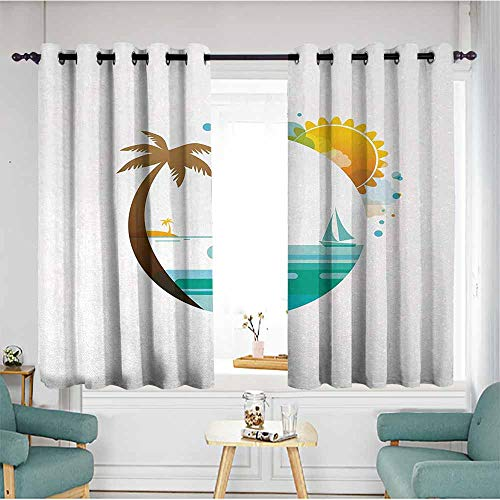 Foil Palm Tree Silhouette - Beihai1Sun Sliding Door Curtains,Beach,Tropical Paradise Summer Season Palm Tree Silhouette with Fish and Sun,Turquoise Marigold Brown,Darkening Thermal Insulated Blackout,W72x45L
