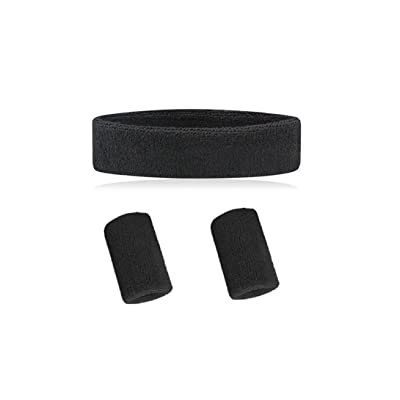 Wonzone Sweatband Set - (1 Headband and 2 Wristbands) in 10 different Colors for Sports, Basketball and More