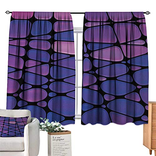 RuppertTextile Light Luxury high-end Curtains Abstract,Contemporary Stained Glass Design with Graphic Drops Mosaic Vibrant Pattern,Purple Pink Black Set of Two Panels 63