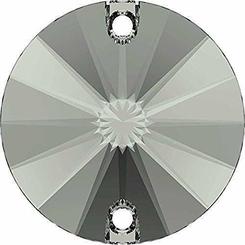3200 Swarovski Sew On Crystals Rivoli Round - 10mm | Black Diamond | 10mm - Pack of 72 (Wholesale) | Small & Wholesale ()