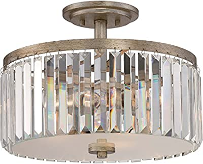 Quoizel MIR1715VG, Mirage Round Glass Semi Flush Ceiling Lighting, 3LT, 225 Total Watts, Gold