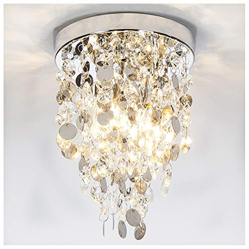 GLANZHAUS Elegant Designed Mini Style Lighting Fixture Crystal Ceiling Light, Crystal Chandeliers Light Crystal Chandelier for Living Room Dining Room Bedroom, 3-Lights Review