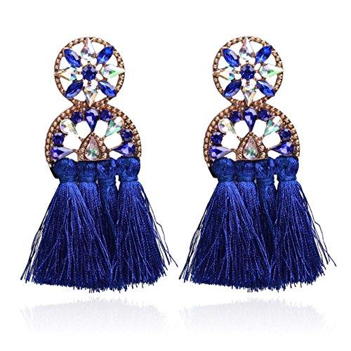 ow Fan Royal Blue Tassel Earrings Long Dangle Drop Thread Earrings for Women and Girls ()