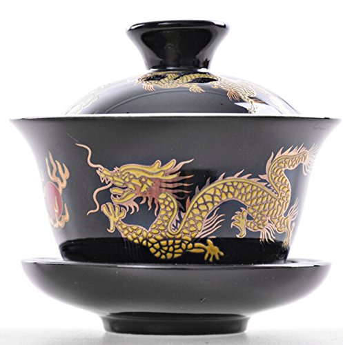 Moyishi Chinese Porcelain Gaiwan Black Dragon Tradition Sancai Tea Cup Tea Set Best Gift