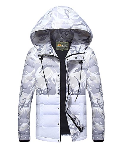 Men's Sunshey Camouflage Hooded Jacket Jackets Down White Puffa Winter qBHdC