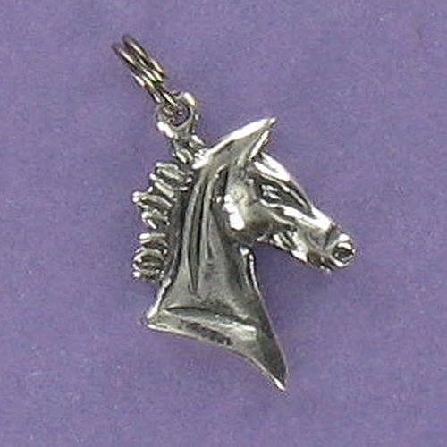 Horse Head Profile Charm Sterling Silver for Bracelet Short Mane Stallion - Jewelry Accessories Key Chain Bracelets Crafting Bracelet Necklace Pendants