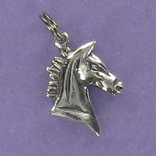 - Horse Head Profile Charm Sterling Silver for Bracelet Short Mane Stallion - Jewelry Accessories Key Chain Bracelets Crafting Bracelet Necklace Pendants