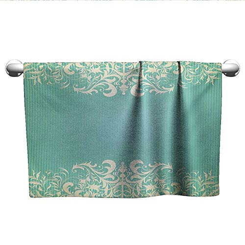 (alisoso Vintage,Dish Towels Old Fashioned Frame with Grungy Ancient Floral Curlicues Baroque Revival Motifs Beach Towels Seafoam Cream W 35