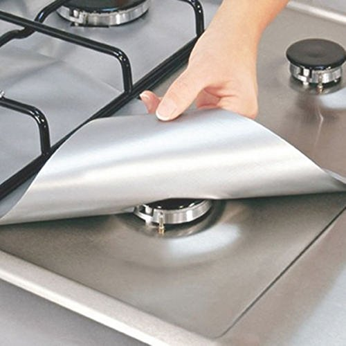 "Stove Burner Covers,4-Pack Gas Range Protectors - Silver/Grey Gas Stove Burner Protector Liner Cover Clean Mat Pad - Reusable, Non-Stick, Dishwasher Safe, Easy to Clean - FDA Approved,10.6"" x 10.6"""