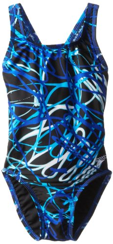 Small Spiral Curve - Speedo Big Girls'  Spiral Curve Youth Drop Back Swimsuit, Blue, 22