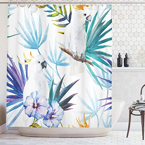 Ambesonne Tropical Shower Curtain, Watercolor White Parrot Birds on Palm Tree Branches Leaves Exotic Nature Artwork, Fabric Bathroom Decor Set with Hooks, 70 Inches, White ()