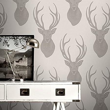 Rasch Stag Head Pattern Wallpaper Deer Modern Metallic Glitter Motif Taupe 273700