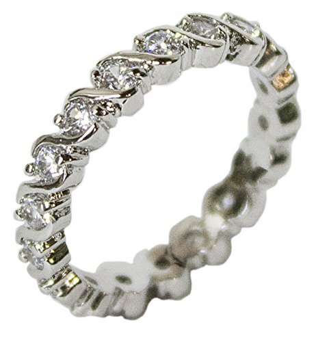 - Women's Rhodium Plated Dress Ring CZ Illusion Wrap Around Band 100 (5)