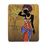 My Little Nest Hand Drawn Beautiful African Woman Soft Throw Blanket Lightweight Microfiber Cozy Warm Blankets Everyday Use for Bed Couch Sofa 50'' x 60''