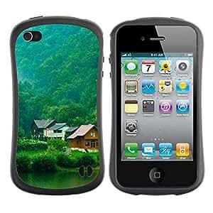 "Hypernova Slim Fit Dual Barniz Protector Caso Case Funda Para Apple iPhone 4 / iPhone 4S [D Naturaleza y Hermosa casa Forrest Verde 6""]"
