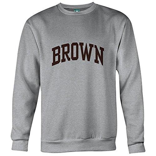 Brown University Sweatshirt By Ivysport - Classic Logo, 80% Cotton / 20% Polyester, Heather Grey, Crewneck Sweatshirt