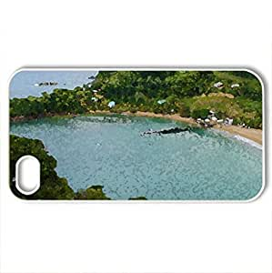 Parlatuvier Beach Tobago - Case Cover for iPhone 4 and 4s (Beaches Series, Watercolor style, White)