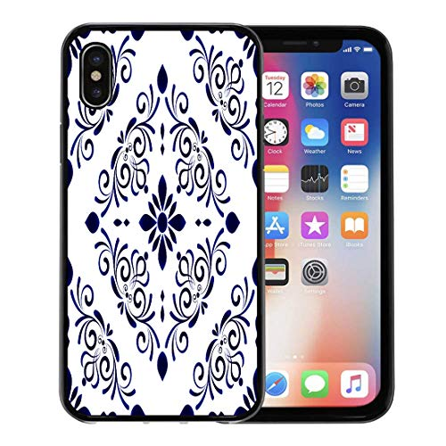 Emvency Phone Case for Apple iPhone Xs Case/iPhone X Case,Baroque Damask Floral Flower Blue and White Vases Simple Soft Rubber Border Decorative, Black ()