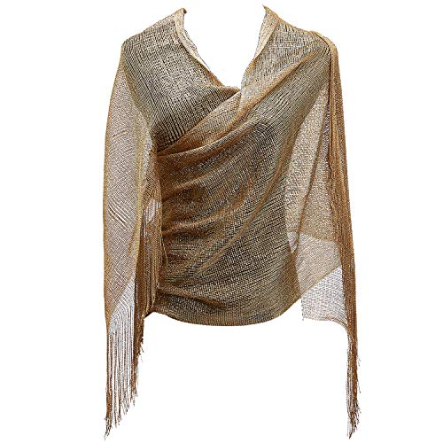 KaKaxi Sheer Glitter Sparkle Piano Shawl Wrap with Fringe Prom Weddings Evening Scarfs,1920s Gatsby Vintage Style,Gold ()