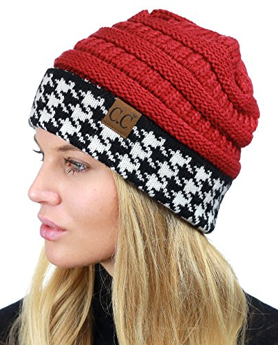 C.C Cable Knit Soft Stretch Multicolor Houndstooth Stitch Cuff Skully Beanie Hat, Crimson (Alabama Beanie Hat)