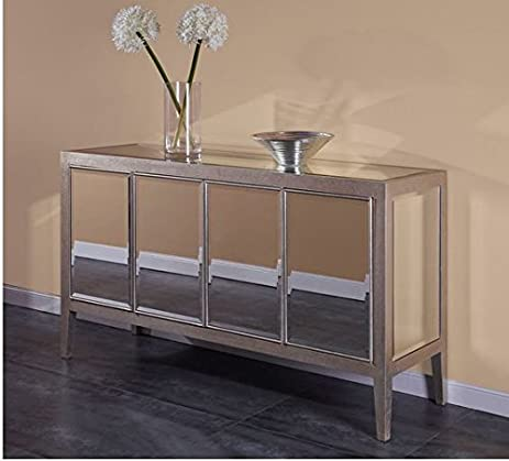 Classy Mirage Mirrored Buffet In Silver Finish