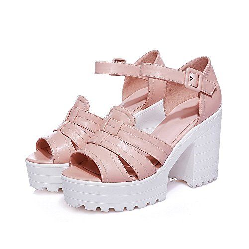 AllhqFashion Women's PU Solid Buckle Peep Toe High-Heels Sandals Pink MekugFtxS0
