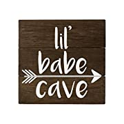 Elegant Signs Rustic Nursery Wall Decor for Girls - Lil Babe Cave