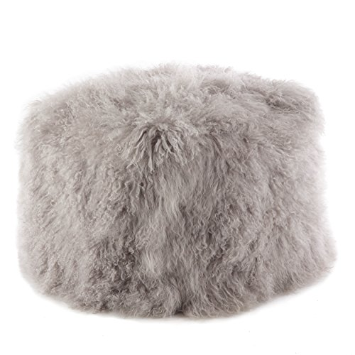 SARO LIFESTYLE Real Mongolian 100 Wool Lamb Fur Pouf Ottoman, 18 x 18 , Fog