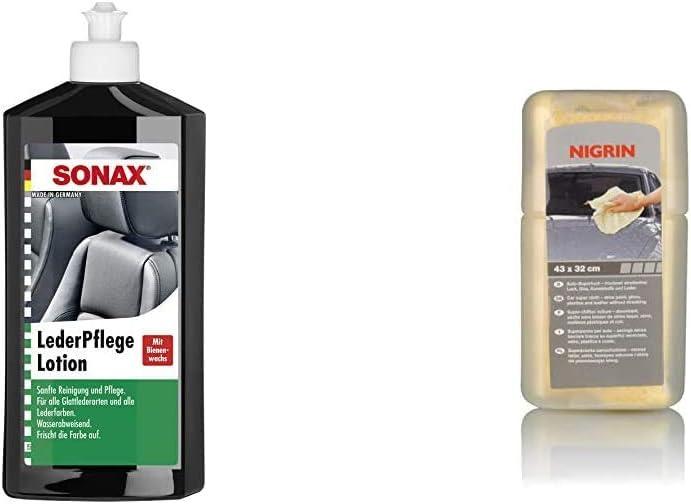 Sonax Lederpflegelotion 500 Ml Wasserabweisende Lederpflege Mit Bienenwachs Für Eine Sanfte Reinigung Und Pflege Nigrin 74054 Auto Supertuch Auto