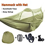 WIILII Double Camping Hammock Upgraded Lightweight Portable 2 Person Parachute Hammock with Tree Straps and Mosquito Net for Camping, Backpacking (108x55 inch)