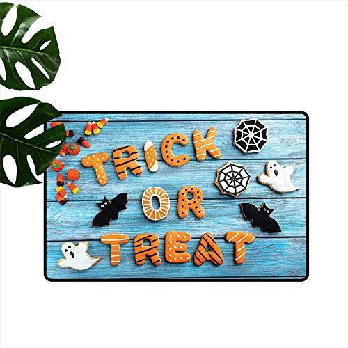 Anzhutwelve Vintage Halloween,Carpets Doormat Trick or Treat Cookie Wooden Table Ghost Bat Web Halloween Modern Doormat W 31