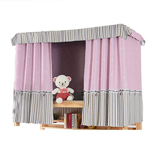 (YAHUIPEIUS Bunk Bed Curtain Dormitory Shading Cloth (2pcs, Pink Stripe))