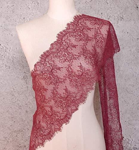 (ALE14 Lace Fabric Eyelash Chantilly Floral Bridal/Wedding Dress Flower Table Cloth DIY Crafts Scallop Trim Applique Curtain 300cm x 23cm (Burgundy))