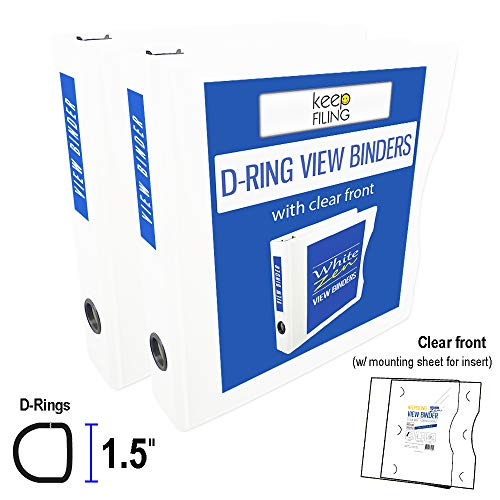 Set of 2 View Binders, 8.5 x 11 Letter Size, 3-Ring, 1.5 Inch D-Ring, Keepfiling White Zen, Customizable ()