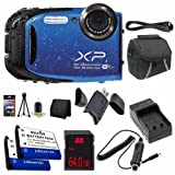 Fujifilm FinePix XP75 16 MP CMOS WiFi WaterProof Digital Camera (Blue) + EN-EL10 Replacement Lithium Ion Battery + External Rapid Charger + 64GB SDHC Class 10 Memory Card + Mini HDMI Cable + Carrying Case + SDHC Card USB Reader + Memory Card Wallet + Deluxe Starter Kit DavisMAX Bundle