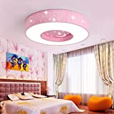 Ceiling light Children's room led Star lights boy room girl bedroom Warm Simple Round ( Color : Pink , Size : C(with remote control) )