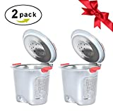 Nicelucky Stainless Steel Reusable K Cups,Refillable Coffee Filter for Keuring 2.0 and 1.0 models K200,K250,K300,K350,K450,K460,K500,K550,K560,B60 Silver (2, Silver)