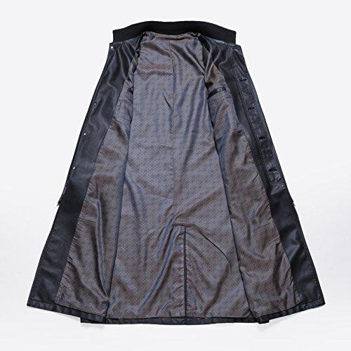 Herren Fashion Business lang Trench Coat Lässige lang PU Leder Jacke