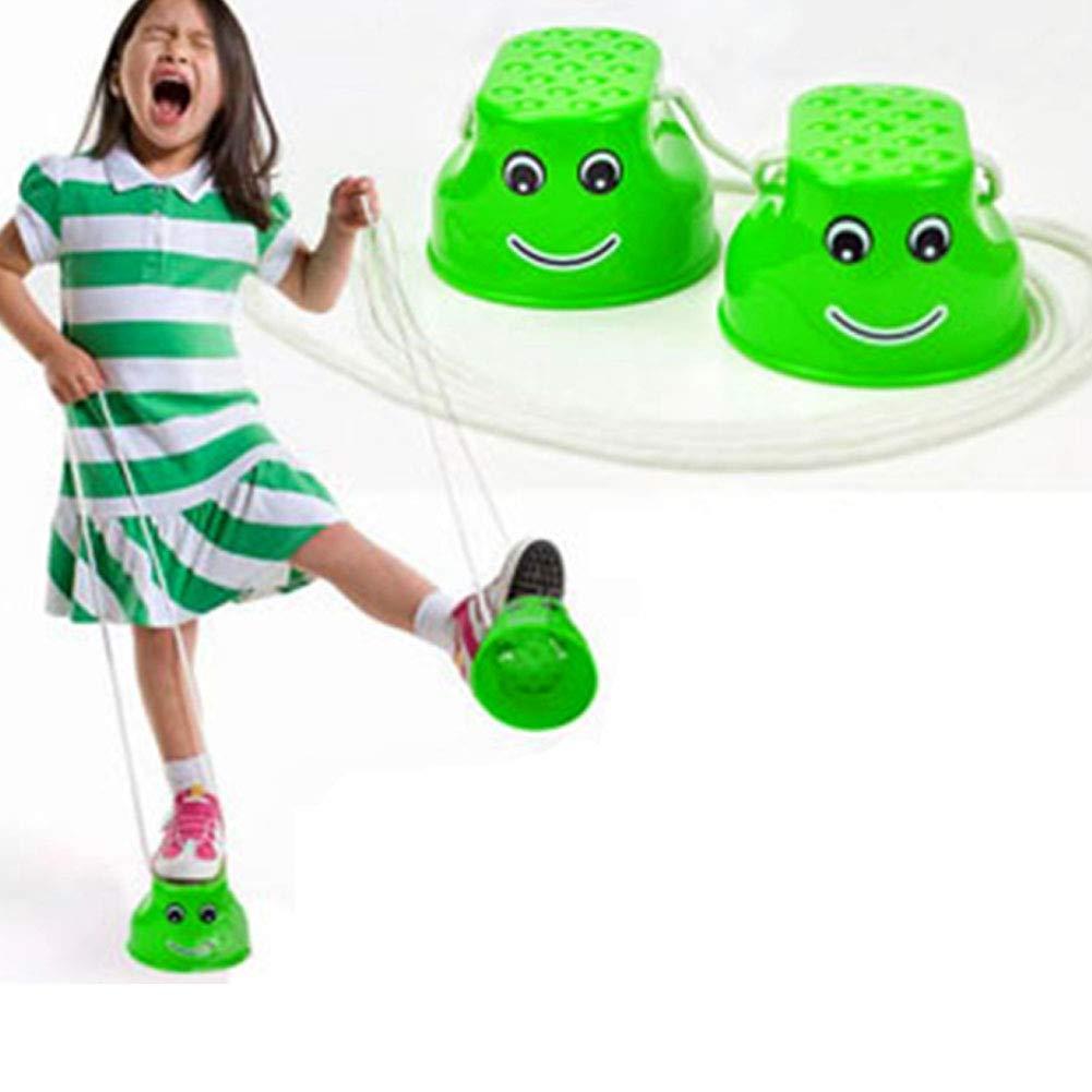 Vert Kindergarten Enfants /équilibre Formateurs Smiley Wudi Saut /Échasses de Stilts Steppers Jouet pour favoriser l/équilibre de la Maternelle et la motricit/é Fine pour Jouets pour b/éb/é