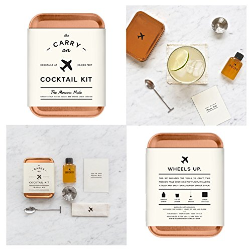 The Carry On Cocktail Kit Old Fashioned, Moscow Mule, Gin and Tonic, Bloody Mary, Hot Toddy, Champagne Cocktail - 6 Pack Carry On Cocktail Kit Holiday Set, Six Carry On Cocktail Kits Makes 12 Drinks by Sawdust + Oil (Image #3)