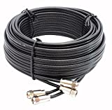 Smedz 10 m Twin Satellite Shotgun WF65 Coax Cable Extension Kit with Premium Fitted Compression F Connectors for Sky Q, Sky HD, Sky+ and Freesat - Black