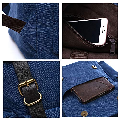 escuela viaje casual 15 mujer para Mochila para bolso mochila la de portátil de de Haowen hombre Blue vendimia lona de viaje pulgadas de W6A1qnxXY