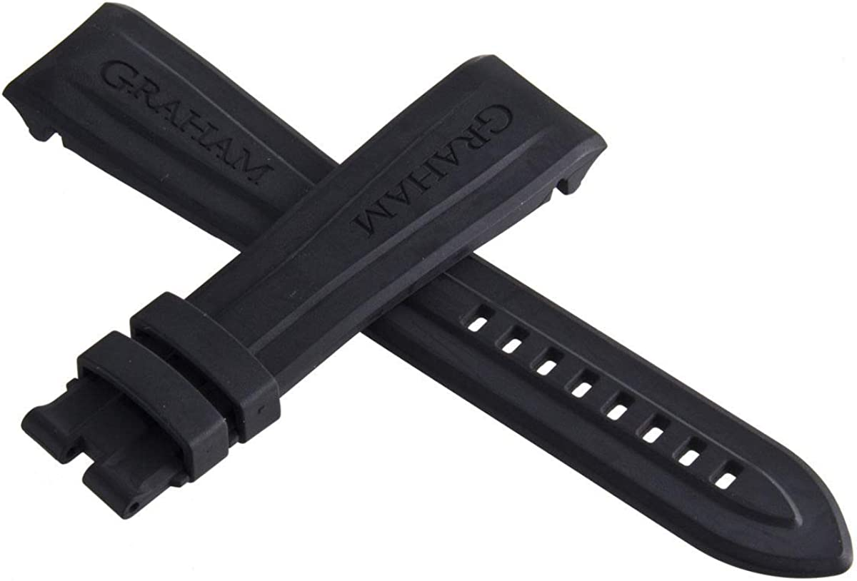 Genuine OEM Graham Black Rubber Strap Watch Band 24mm x 20mm L