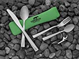 Tapirus-Camping-Eating-Utensils-To-Go-Durable-Stainless-Steel-Lightweight-Construction-Flatware-Travel-Mess-Cutlery-Kit-With-Spoon-Teaspoon-Knife-Fork-Bottle-Opener-Comes-In-A-Carrying-Case