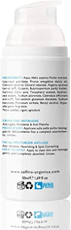 Zaffiro Organica 50ml Crema Facial con Colageno, Acido Hialuronico y Aceite de Argan| Reduce arrugas, líneas de expresión, imperfecciones| Excelente rellenador de arrugas | Para Hombre y Mujer.
