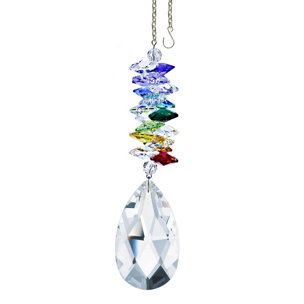 Swarovski crystal Tall Clear Almond Prism and Cascade, Strass Laser Engraved, Amazing Crystal Ornament, Rainbow Maker, Sun Catcher Adorned with Swarovski crystal with Certificate