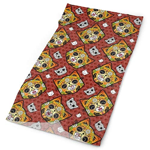 Yongcoler Calavera Day of The Dead Cat Portable Fishing Sun Mask Neck Gaiter Polyester Microfiber Headband Comfy Bandana Breathable Balaclava with Elastic