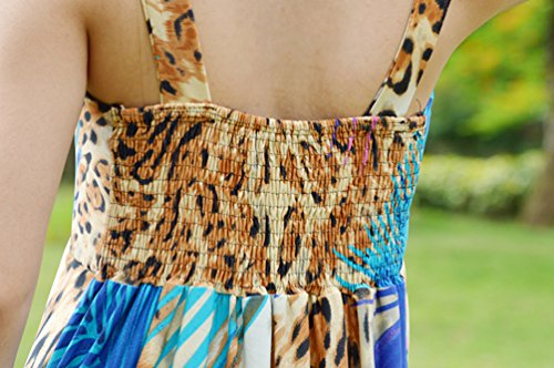 WanYang Mujer Verano Largo Impresión Noche Fiesta Sin Mangas De Vestido De Playa Sundress #_4