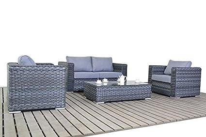 Moderno sofá de jardín de mimbre gris pequeño set, sofá de 2 ...